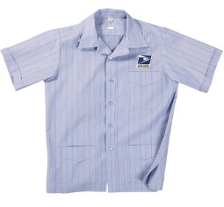 Mens Letter Carrier Shirt Jac Postal Blue With Navy And Red Pinstripes-