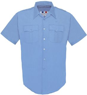 Mens Medium Blue Plain Short Sleeve 65/35 Poly/Cotton Duro Poplin Shirt-