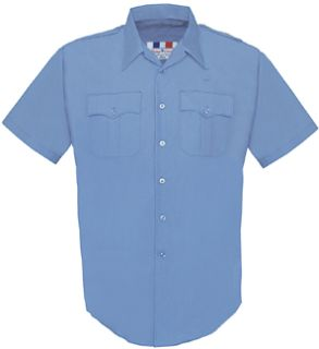 Mens Marine Blue Plain Short Sleeve 65/35 Poly/Cotton Duro Poplin Shirt-Flying Cross