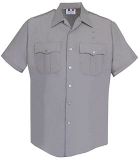 Mens Silver Grey Plain Short Sleeve 65/35 Poly/Cotton Duro Poplin Shirt-