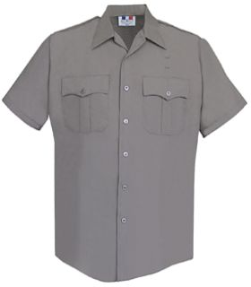 Mens Nickel Grey Short Sleeve Duro Poplin Shirt 65/35 Poly/Cotton-Flying Cross