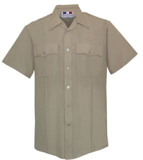 Mens Silver Tan Short Sleeve Deluxe Tropical Shirt 65/35 Poly/Rayon-Flying Cross