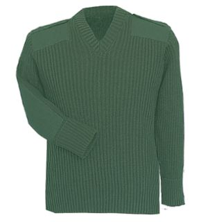 Green Sweater w/Wind-Stop 70% Acrylic/30% Wool-Flying Cross