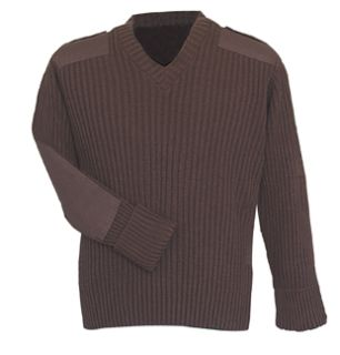 Brown Sweater w/Wind-Stop 70% Acrylic/30% Wool-Flying Cross