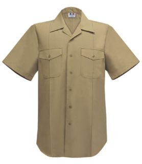 Mens Usn Short Sleeve Khaki Shirt 75%poly/25%wool Tropical-Flying Cross