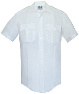 Mens White Short Sleeve Duro Poplin Shirt 65/35 Poly/Cotton-