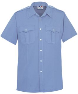 Mens Marine Blue Short Sleeve Duro Poplin Shirt 65/35 Poly/Cotton-Flying Cross