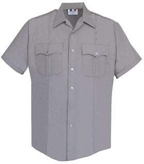 Mens Silver Grey Short Sleeve Duro Poplin Shirt 65/35 Poly/Cotton-