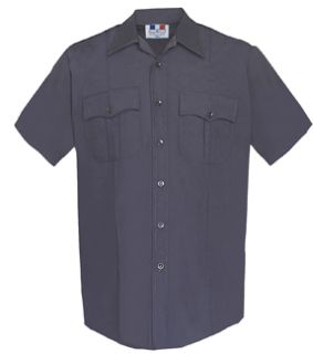 Mens Navy Blue Short Sleeve Duro Poplin Shirt 65/35 Poly/Cotton-Flying Cross