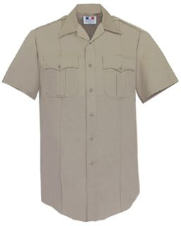 Mens Silver Tan Short Sleeve Twill Shirt 65/35 Poly/Cotton-