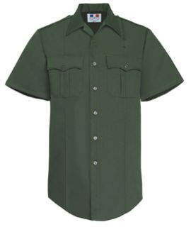 Mens Spruce Green Short Sleeve Twill Shirt 65/35 Poly/Cotton-