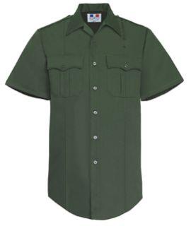 Mens Spruce Green Short Sleeve Twill Shirt 65/35 Poly/Cotton-Flying Cross