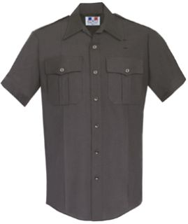 Mens Black Short Sleeve Twill Shirt 65/35 Poly/Cotton-