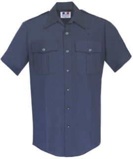Mens LAPD Navy Short Sleeve Twill Shirt 65/35 Poly/Cotton-Flying Cross