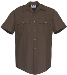 Mens Dark Brown Short Sleeve Twill Shirt 65/35 Poly/Cotton-