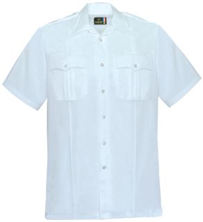 Mens White Short Sleeve 65/35 Polyester/Coolmax®; Shirt-