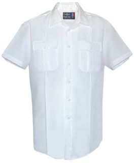 Mens White Short Sleeve Zippered Front 100% Visa®; System 3 Polyester Shirt-