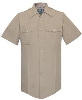 Mens Silver Tan Short Sleeve Zippered Front 100% Visa®; System 3 Polyester Shirt-Flying Cross