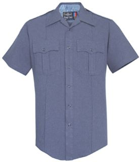 Mens French Blue Short Sleeve Zippered Front 100% Visa®; System 3 Polyester Shirt-Flying Cross