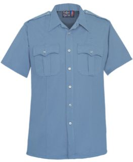 Mens Medium Blue Short Sleeve Zippered Front 100% Visa®; System 3 Polyester Shirt-Flying Cross