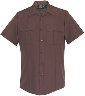 Mens Brown Short Sleeve 100% Visa®; System 3 Polyester Shirt-