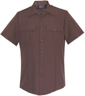 Mens Brown Short Sleeve Zippered Front 100% Visa®; System 3 Polyester Shirt-