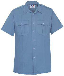 Mens Medium Blue Short Sleeve Deluxe Tropical Shirt 65/35 Poly/Rayon-