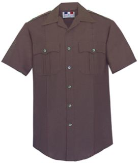Mens Dark Brown Short Sleeve Deluxe Tropical Shirt 65/35 Poly/Rayon-Flying Cross