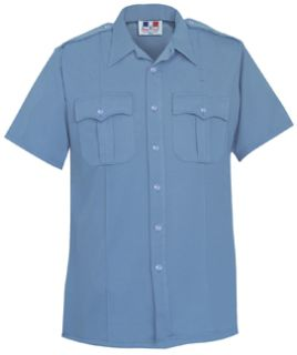Mens Medium Blue Short Sleeve Deluxe Tactical Shirt 68/30/2 Poly/Rayon/Lycra®;-
