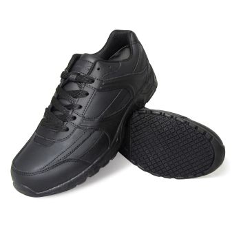 Genuine Grip Mens Leather Slip-Resistant Jogger Work Shoe #1010 Wide Width Available - Black-