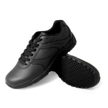Genuine Grip Mens Slip-Resistant Leather Work Shoes #1030 Wide Width Available - Black-