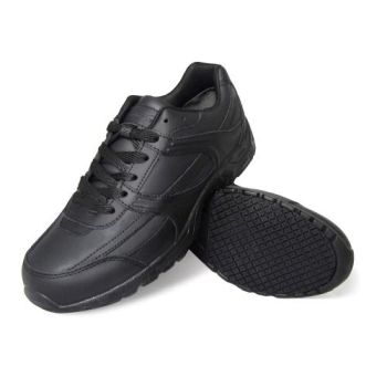 Genuine Grip Womens #1110 Slip-Resistant Leather Work Shoe - Black Wide Width Avail-