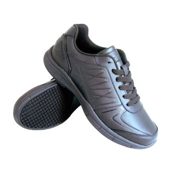 Genuine Grip Mens #1600 Slip-Resistant Athletic Work Shoe Wide Width Available - Black-