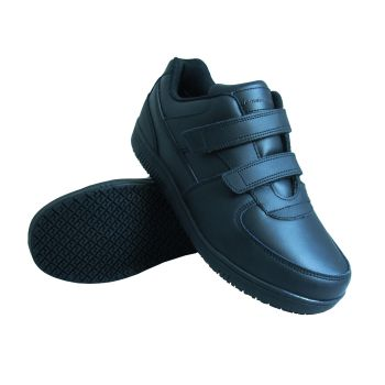 Genuine Grip Mens #2030 Slip-Resistant Velcro Work Shoes Wide - Black-Genuine grip