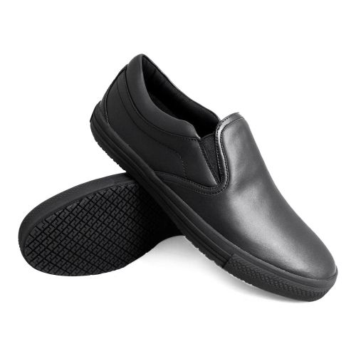 Genuine Grip Mens Slip-Resistant Retro Slip-on Work Shoes #2060 - Black-Genuine grip