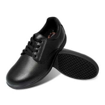 Genuine Grip Women Slip-Resistant Leather Work Oxford #420 - Black-Genuine grip