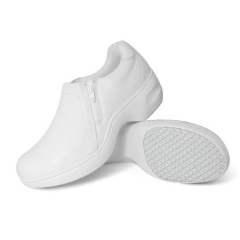 Genuine Grip Women Slip-Resistant Slip on Zipper Work Shoes 465 White-Genuine grip