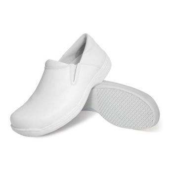 Genuine Grip Mens Slip-Resistant Leather Work Shoe #4705 Wide Width Available - White-