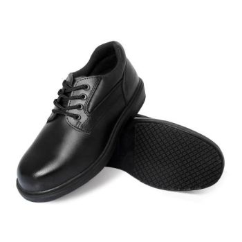 Genuine Grip Mens Slip-Resistant Steel Toe Oxfords Wide Work Shoes #7110 - Black-