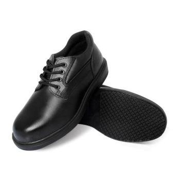 Genuine Grip Mens Slip-Resistant Steel Toe Oxfords Wide Work Shoes #7110 - Black