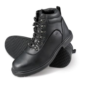 Genuine Grip Mens Slip-Resistant Steel Toe Zipper Work Boot #7130 - Black-Genuine grip