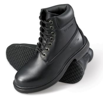 "Genuine Grip Mens Slip-Resistant Waterproof 6"" Soft Toe Wide Work Boot #7160 - Black-Genuine grip"