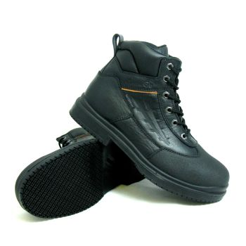 Genuine Grip Mens Slip-Resistant Waterproof Steel Toe Wide Work Boot #7800 - Black-Genuine grip