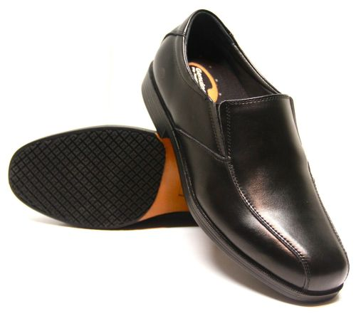 Genuine Grip Men Slip-Resistant Slip-on Dress Work Shoe #9550 Wide Width Available - Black-Genuine grip