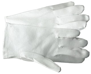White Cotton Parade Gloves with PVC Dots and Vent Cuffs-Gloves For Professionals