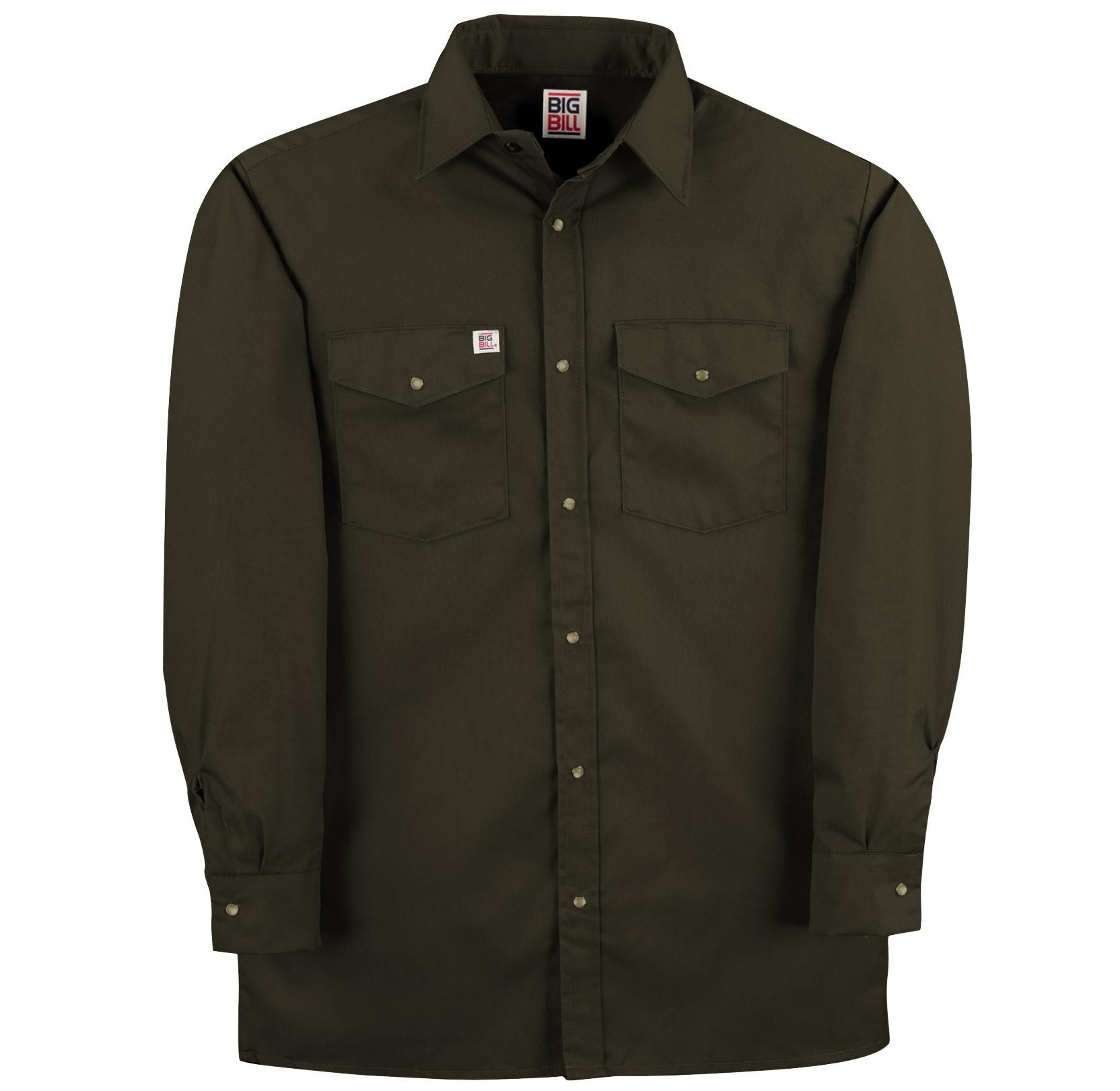 6 oz Twill Snap Closure Long Sleeve Work Shirt-BIG BILL
