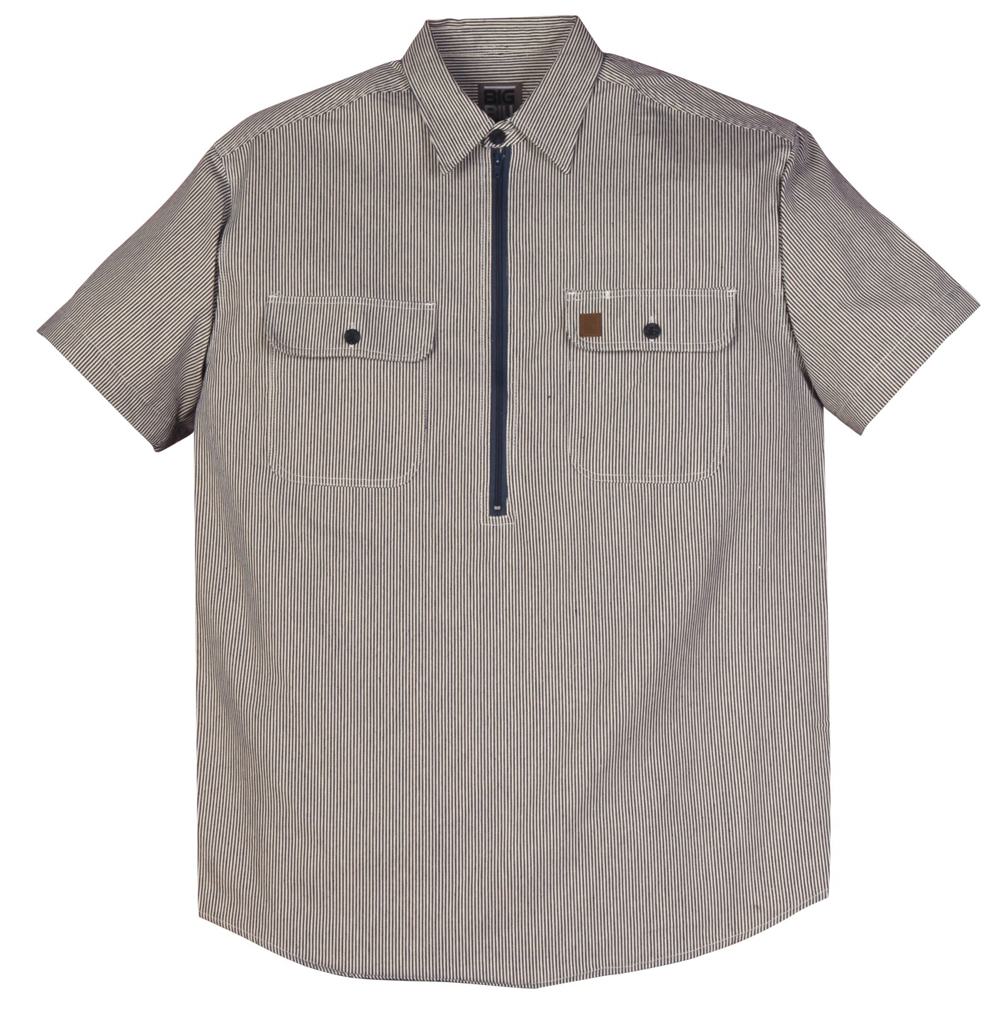 7 oz Hickory Stripe Zip Up Hickory Short Sleeve Shirt-