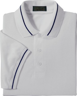 Men's Short Sleeve Pique Polo With Mini Stripe Trim-