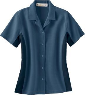 Ladie's Knit Ottoman Color-Block Camp Shirt-