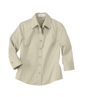 Ladie's 3/4 Sleeve Solid Stretch Shirt-
